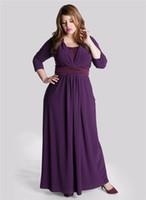 Wholesale 2 Tones A Line V Neck Ruched Sash Ankle Length Long Sleeve Plus Size Purple Chiffon Mother of the Bride Dresses