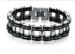 n811 Silver Stainless Steel Black Rubber Motorcycle Biker Mens Chain Link Bracelet