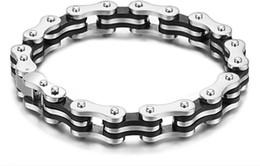 Silver Stainless Steel Black Rubber Motorcycle Biker Mens Chain Link Bracelet