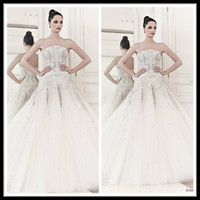 Wholesale 2014 Zuhair Murad Wedding Dresses Strapless Champagne Lace and Tulle A Line Corset Bridal Gowns Sleeveless Chapel Train