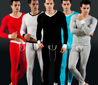 V_Neck Men Winter New 1Set Sexy Mens Long Johns Warm Trousers Bottoms Thermal Underwear Pants Tops T-Shirts V Neck Long Sleeve Low Rise Bulge Pouch S M L