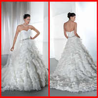 Model Pictures demetrios wedding dress - 2014 New Arrival Sweetheart Demetrios Wedding Dresses A Line White Organza With Ruffle Bridal Gowns