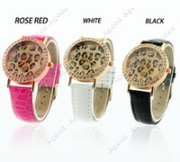 Wholesale 2014 new fashion Women s Quartz Leopard Synthetic Leather Bracelet Wrist Watch
