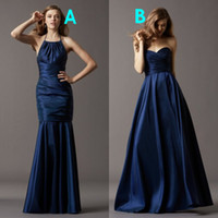 Wholesale Two Styles Mermaid A Line Long Satin Cheap Bridesmaid Dresses Party Dress Ivory Coral Yellow Red Royal Blue Lavender Purple