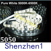 Wholesale Flexible Strips Light SMD Leds V light M FT LED waterproof IP65 Pure white super bright LED Flexible Light Strip DHL Free