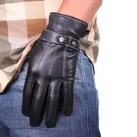 Wholesale S5Q Men s PU Leather Driving Gloves Five Fingers Gloves Fashion Black Winter Warm AAACVV