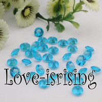 Wholesale 500pcs mm Carat Aqua Blue Color Diamond Confetti Faux Acrylic Bead Table Scatter Wedding Favors Party Decor