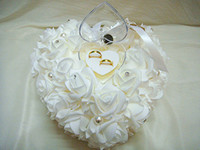 Cheap Heart-shaped ring pillow european-style ring pillow bridal wedding ring box for wedding white