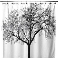 Wholesale S5Q European style Big Black Scenery Tree Design Bathroom Waterproof Fabric Shower Curtain AAACBP