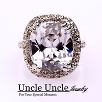 big class - Ultra big K White Gold Plated Royal Oval Top Class Cubic Zircon Luxury Lady Finger Ring