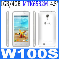 4.7 Android 1G original ThL W100S Smartphone MTK6582M Quad Core Android 4.2 1G RAM 4GB ROM 4.5 Inch IPS Screen SG free shipping