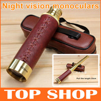 Wholesale Tasco x30mm Pirate HD high powered pocket monocular telescopes night vision contraction high quality leather metal telescope