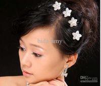 Tiaras Women's Gemstones Wholesale - 128pic lot Free Shipping Hair Jewelry, Crystal Flower Hair Pins, U shape Hair Clips, Fashion Weddin