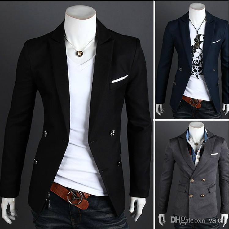 NEW Men's Casual Slim Fit Blazers Designs Suits Men's Pure Color ...