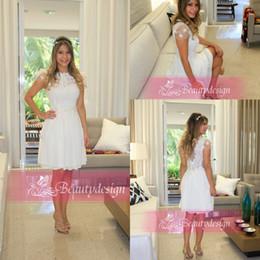 Wholesale Romantic pure white vestidos de chiffon cocktail party dresses cap sleevs lace short mini A line short elegant prom gowns BO3672
