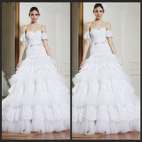Ball Gown Model Pictures Sweetheart 2014 Zuhair Murad Sweetheart Wedding Dresses White Lace Ball Gowns With Beads Bridal Gowns Cascading Ruffles