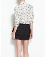White Spot W4161 2013 European and American wholesale spot recommended heart-shaped leopard print head women's fashion long-sleeved shirt W4161