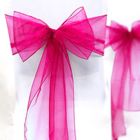 Wholesale High Quality Fuchsia quot cm W x quot cm L Wedding Favor Party Banquet Organza Chair Sash Decor