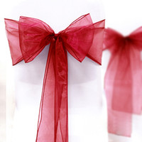 Wholesale High Quality Dark Red quot cm W x quot cm L Wedding Favor Party Banquet Organza Chair Sash Decor