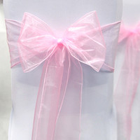 Wholesale High Quality Pink Color quot cm W x quot cm L Organza Sashes Wedding Favor Party Banquet Organza Chair Sash Decor Free Ship