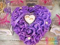 Cheap Heart-shaped ring pillow european-style ring pillow bridal wedding ring box for wedding purple