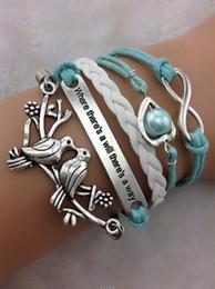 12pcs Loving bird Bracelet Charm Bracelet Infinity Bracelet -Antique Silver& Braided Bracelet leather bracelets hy1059