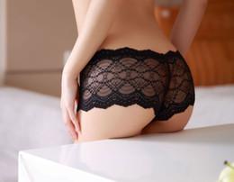 Wholesale Ms sexy temptation transparent gauze underwear low waist lace boxer briefs