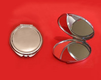 Wholesale Personalized Engraved Round Compact Mirror Silver Metal Blank makeup mirror Case Favor Promotional Gift DROP SHIPPING