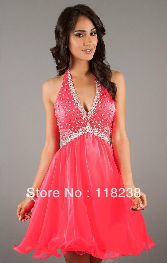 Halter Top Low Cut Prom Dresses Holiday Dresses