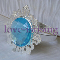 Wholesale Lowest Price Aqua Blue Gem Stone Vintage Style Napkin Rings Wedding Bridal Shower Napkin holder