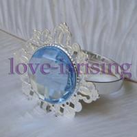 Wholesale Lowest Price Blue Gem Stone Vintage Style Napkin Rings Wedding Bridal Shower Napkin holder