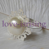 Iron ECO Friendly  Lowest Price--Ivory Pearl Vintage Style Napkin Rings Wedding Bridal Shower Napkin holder-- Free Shipping