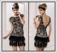 Wholesale Sexy Beautiful New Arrivals Charming Lace Feather Beaded Short Mini Party Dresses Cocktail Dresses Distinctive