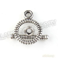 Wholesale Vintage Silver Tone Alloy Circle Toggle Hook Clasps Jewelry Findings x10x2mm