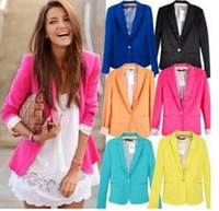 Women' s Foldable Sleeve Blazer Jacket candy Color Lined...