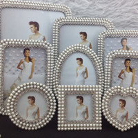 Wholesale and inch pearl diamond zinc alloy photo frame picture frame home decoration gift craft