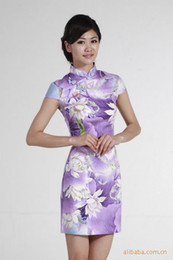 Wholesale high quality qipao Chinese tranditional qipao traditional chinese wedding dress cheongsam lotus printed dress JY051