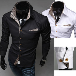 Wholesale Men s Clothing Casual Leopard Print Shirts Men Slim Long sleeve Dress Shirts M L XL XXL