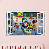 Wholesale Toy Story Wall Stickers Fake Window Movie Poster for Children Room Home Decor Famous Toy Family Buzz lightyear and His friends Adventure