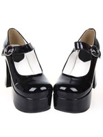 Wholesale Hot Sale Halloween Heel With Platform Black PU Lolita Shoes r24 u8 yl