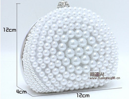 Wholesale 2014 Popular Unique Style White Black Ivory Pearl Bridal Hand Bags for Wedding Evening Party Event