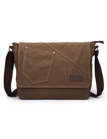 Wholesale Concise Pocket Quilted Canvas Solid Color Men s Messenger Bag u10 qF2