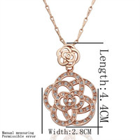 Pendant Necklaces Women's Fashion EVTZ18KXL (49) Wholesale 18K GP fashion neckalce jewelry 18k gold plated diamond flower pendant necklaces free shipping
