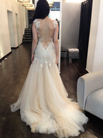 Wholesale sexy backless beach zuhair murad victorian dress Venice lace plus size sheer lace gothic wedding dresses with sleeves