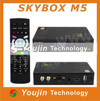 Wholesale 1PC Original Skybox M5 HD satellite receiver with wifi build in support Youtube Weather Forecast Network EPG MP