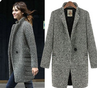 Coats Women Cotton S~ 3XL 2013 New Fashion High Quality Wool Elegant OL Fashion Tweed Wool Fabric Houndstooth Coat Outerwear Female Overcoat WC0094