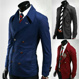 Wholesale Male fashion new arrival metal buckle male double breasted long sleeve slim suit jacket coat burgundy dark grey blue Youshop2012