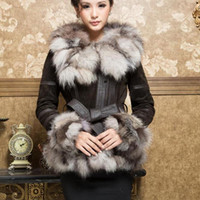 Wholesale 13055 Real Leather Coat overcoat with fox fur silver fox collar and trim outwear garment winters coat