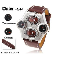 Wholesale Sale Items Men s Oulm multifunction Outdoor Sports Leather Watch With Compass Thermometer Top Quality Products
