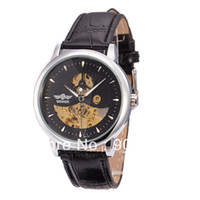 Wholesale Newest Luxury Brand Winner Watch Black Leather Band Stainless Steel Skeleton Dial Mechanical Watch Man